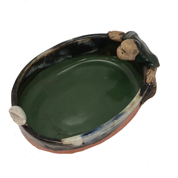 RESCUE: Japanese Sumida Gawa Pottery Bowl with Figure