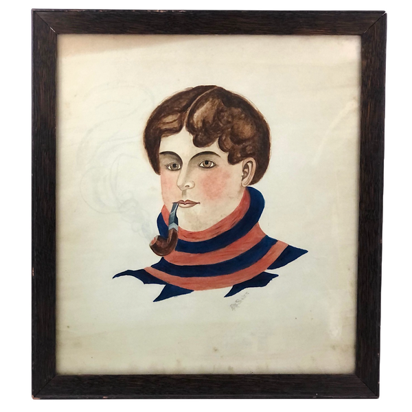 Young Man in Striped Turtleneck with Billowing Pipe Old Watercolor, Framed