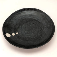 Black Hand Thrown Ceramic Plate with White Dots