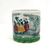 Hand-painted Antique English Transferware Child's Cup with Dancing Girls