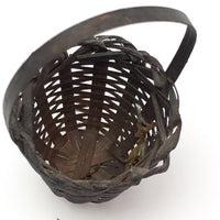 Miniature Handwoven Splint Basket with Handle
