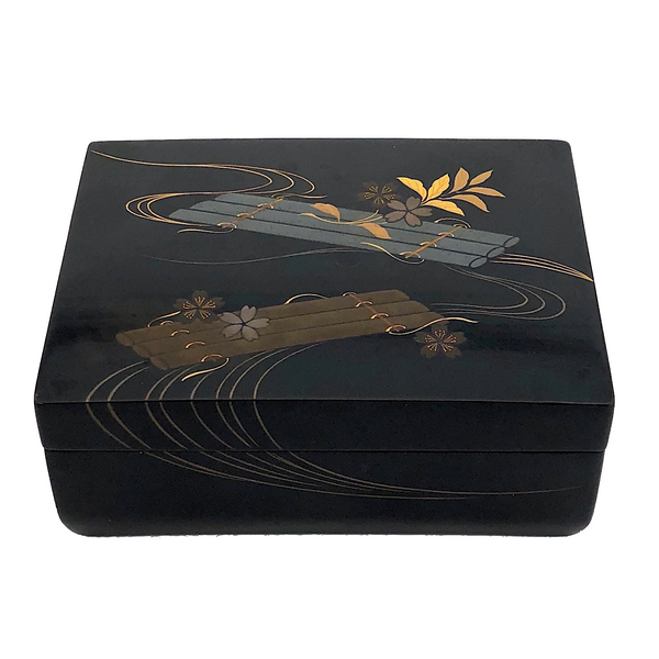 Japanese Lacquer Box With Silver, Gold and Copper Raft and Flower Design