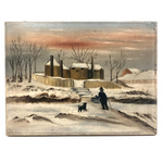 Old Folk Art Oil on Canvas Painting of Intrepid Figure and Dog in Snow