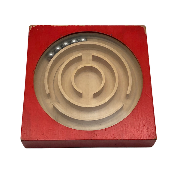 Classic Naef Spiel Labyrinth Dexterity Game - Red, Vintage-hold for IS