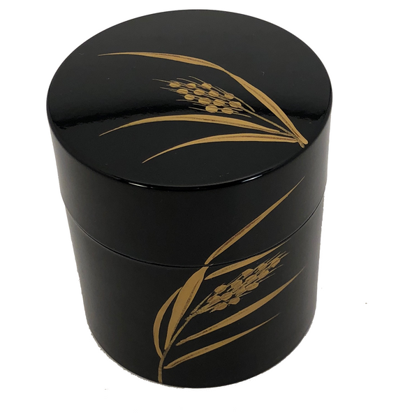 Japanese Lacquer Tea Canister with Golden Wheat Design