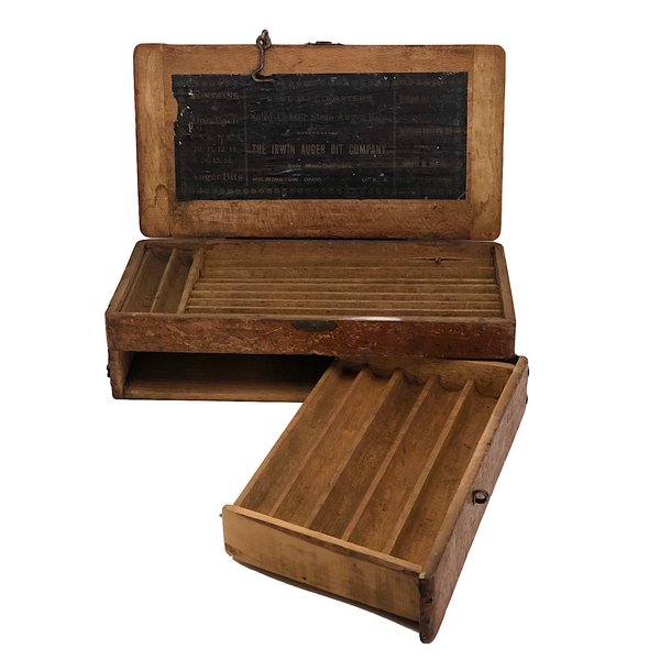 Irvin Augur Bit Company Wooden Box with Center Stem Bits