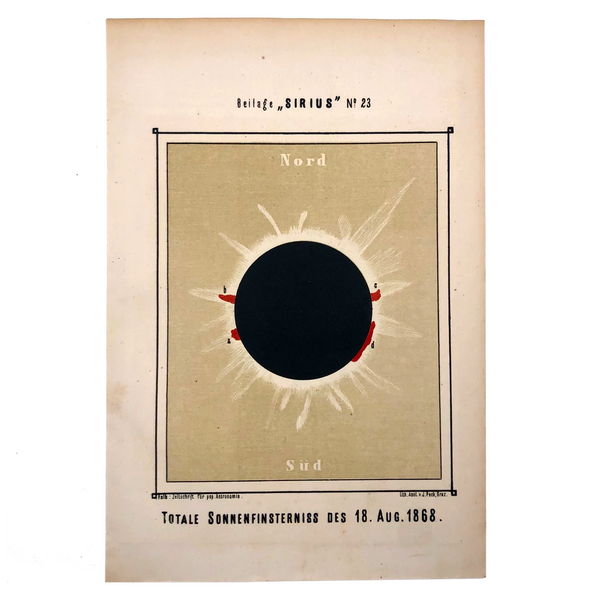 Total Solar Eclipse Austrian Journal of Popular Astronomy Bookplate,  c. 1876