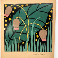 "SOLD (hold for MW) Decorative Gouache Fireside Studios ""Practice Board"" Floral Painting, 1935"