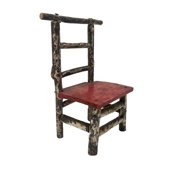 Miniature Antique Primitive Twig Chair with Red Seat