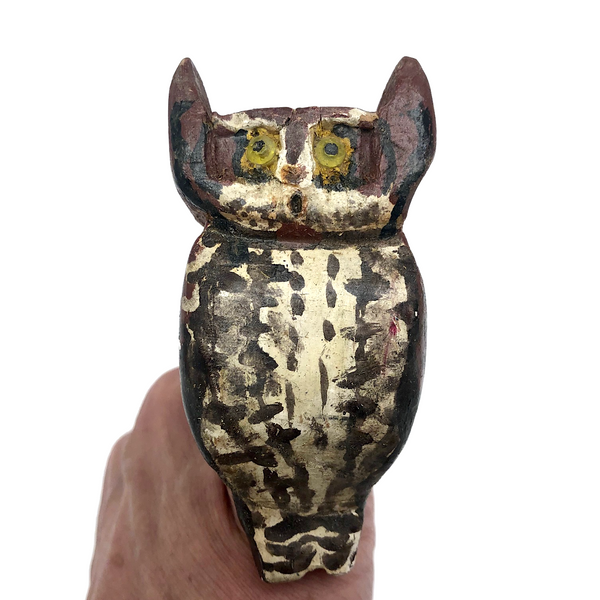 (HOLD MG) Hand-carved Owl Finger Puppet with Leather Strap