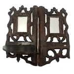 Folky Hand-carved Antique Corner Shelf with Mirrors
