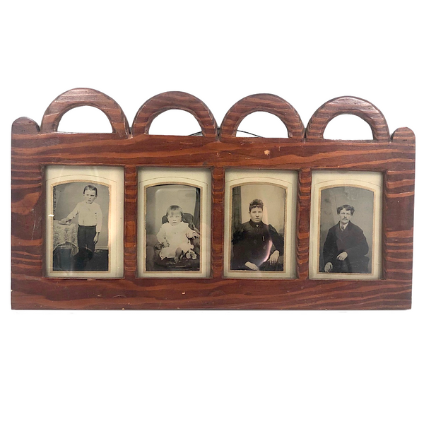 Folky Antique Hand-carved Quadruple Tin Type Frame