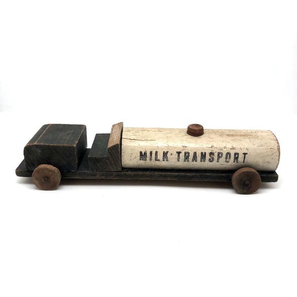 "Old Handmade Wooden ""Milk Transport"" Toy Truck"