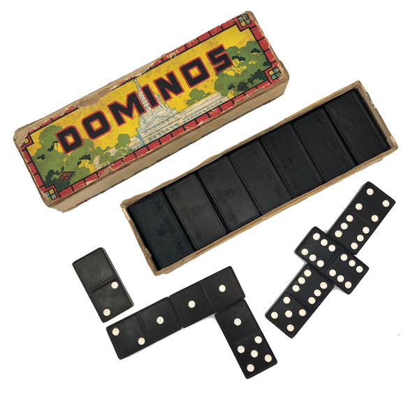 Halsam 1940s Double Six Wooden Dominoes Set with Capital Building