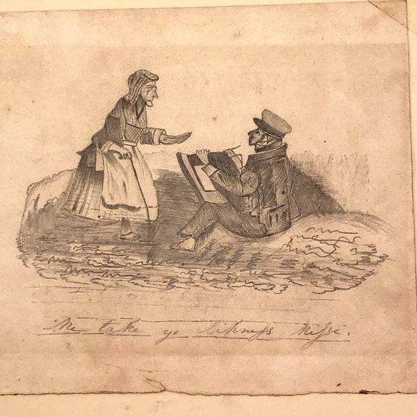 """Me Take Yo Likeness Mitsi"" Antique Drawing of Artist and Old Woman"