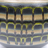 Large Black Vase With Drippy Banded Glaze