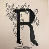 Alphabet Drawing: R for Rose, Signed F.O.M