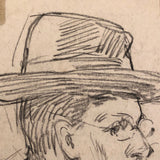 Willem Klijn Pencil Drawing of Man in Hat and Glasses, 1910, Brussels