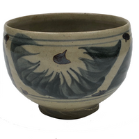 Cornwall Bridge Pottery Handthrown Stoneware Bowl With Painterly Blue and Copper Decoration