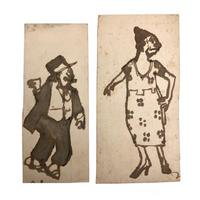 Funny Little Pair of Old Ink Drawn Cartoon Characters - Jiggs and Maggie