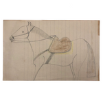 Double-Sided Drawing of Horses on Lined Paper