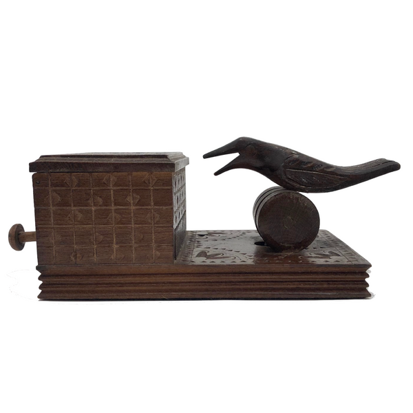 Hand-carved Wooden Cigarette Dispenser with Bird, Presumed Russian