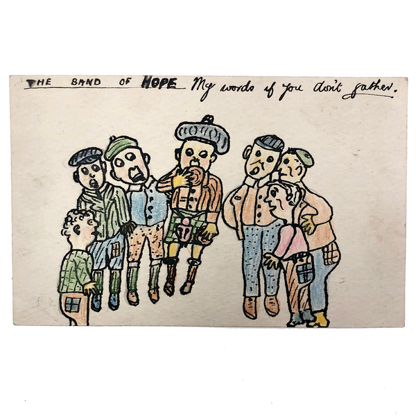 The Band of Hope, Antique Hand-drawn Postcard