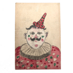 Pencil and Watercolor Hand-drawn Clown Postcard, early 20th c German, Signed Kuchler