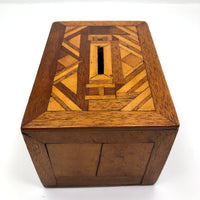 Charming 19th Century Inlaid English Mahogany Money Box-hold SS