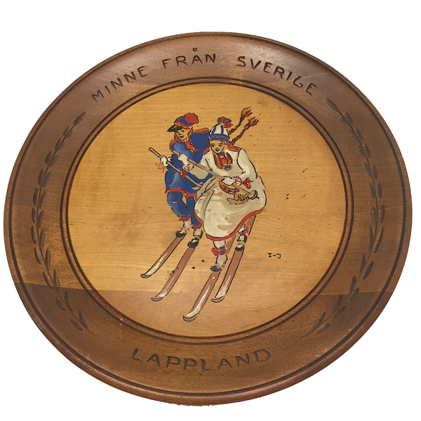 Swedish Hand-painted Wooden Plate with Skiing Couple