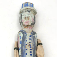 Colorfully Painted Folk Art Carved Wooden Figure with Cloth Covered Wire Arms