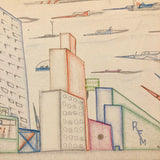 Skyscrapers, Newsstand and Rocketships Vintage Kid's Drawing by Robert Muller