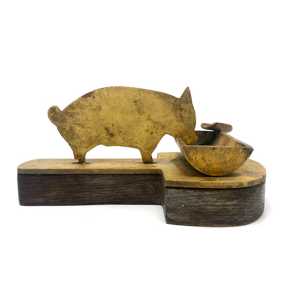 Pig at Trough Folk Art Ashtray