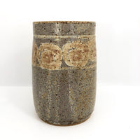 Earthy Stoneware Vase with Purplish-Gray Glaze and Pinkish-Brown Decoration