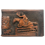 Wonderful Folk Art Relief Carving of Man on Horse with Dog