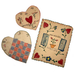 Wonderful Old Handmade Cut Paper Valentines - Set of Three