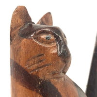 Folk Art Carved Cat with Stained Stripes and Homely Face!