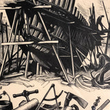 "Clare Leighton ""Ship Building"" Signed and Numbered Vintage Wood Engraving"