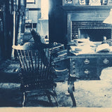 Large Antique Cyanotype of Yorkers, NY Domestic Interior