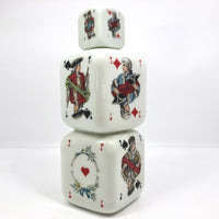 Italian 1950s Buton Milk Glass Bottle with Playing Card Design