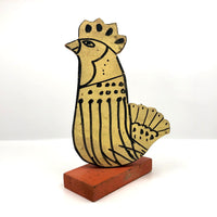 Great Hand-painted Yellow Cutout Wooden Chicken on Orange Base
