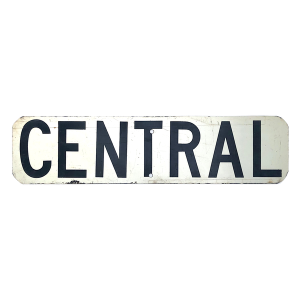 Black and White CENTRAL Real Street Sign