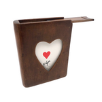 Lovely Antique Treen (Presumed Card) Box with Heart Cutout