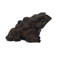 Japanese Hand-carved Cryptomeria Horny Toads