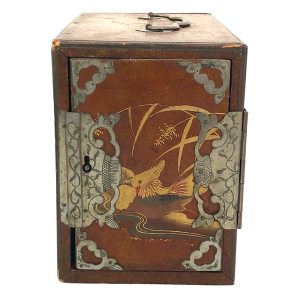 Antique Hand-Painted Japanese Lacquered Box With Interior Drawers