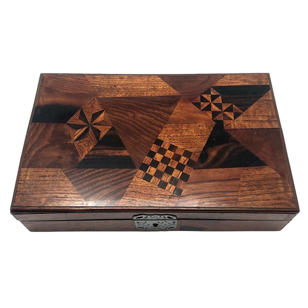 Striking Japanese Yosegi Zaiku Marquetry Lacquer Box