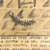 Mexican Ex Voto Sepia Ink Drawing --Saved from the Horrible Centipede!