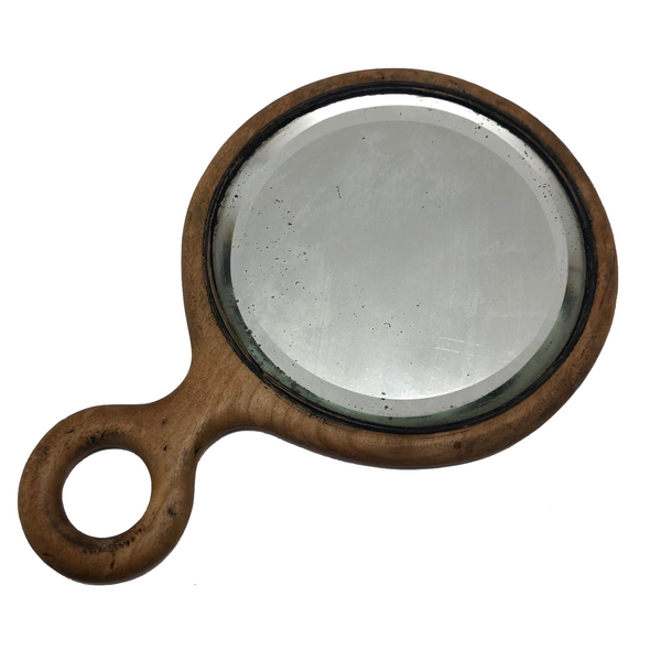 Bevelled Glass Wooden Hand Mirror with Loop Handle