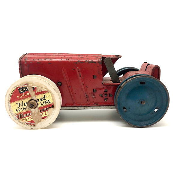Louis Marx Red and Blue Tractor with Make Do Wheel