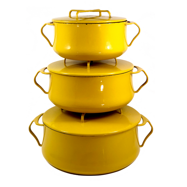Classic Yellow Enamel Dansk, France Kobenstyle Dutch Oven Set